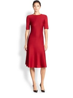 St. John - Flared Knit Long-Sleeve Dress - Saks.com