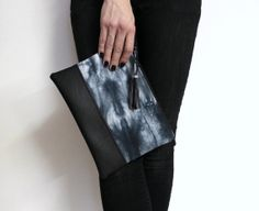 black #shibori #clutch with a #tassel, hand dyed #purse in shades of black, gray and white