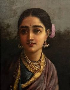 Raja ravi varma - Radha This particular Radha is conceivably one of the most beautiful of Raja Ravi Varmas uttama nayikas, the high minded women of many virtues and qualities that are intrinsic to goddesses and women in classical Indian literature Radha r Ravivarma Paintings, Indian Art Paintings, Mural Painting, Woman Painting, Lotus Painting, Indian Artwork, Painting Portraits, Acrylic Paintings, Indian Women Painting