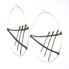 Silver Hoop earrings  architectural  minimal by betsyandiya, $57.00