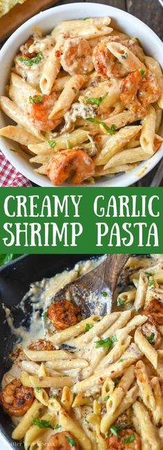 Creamy garlic shrimp pasta is a quick and easy dinner the whole family will love. It's the perfect all-in-one meal, serve it with a side of bread or a salad. #creamypasta #shrimppasta Garlic Shrimp Pasta, Shrimp Pasta Recipes, Seafood Pasta, Shrimp Dishes, Pasta Dishes, Seafood Recipes, Creamy Pasta, Meals, Dinners