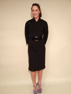 Unbranded 3/4 Sleeve Fitted Black Sheath Dress, Button Accent, sz 8 $55.99 www.darlingdiscounts.com