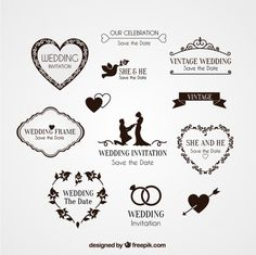 Elementos para invitación de boda Vector Gratis