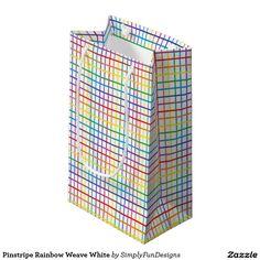 Pinstripe Rainbow Weave White Small Gift Bag