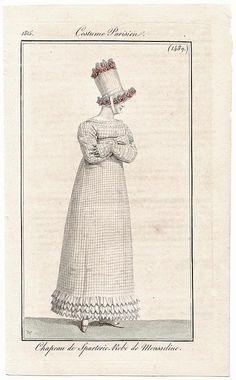 A check dress, 1815 Blue and white sash 1815 Costume parisien