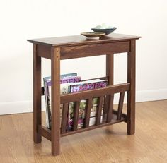 For beside the recliner in the living room. Narrow side table with magazine rack - a modern stylish storage for your weekly periodical. Wooden Magazine Rack, Magazine Table, Wood Magazine, Magazine Racks, At Home Furniture Store, Furniture Making, Diy Furniture, Furniture Design, Chair Side Table