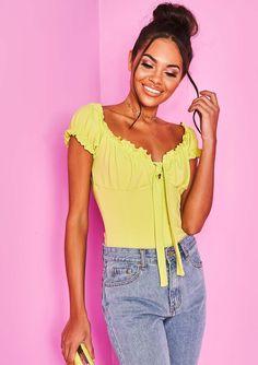 5a4276a6bf Missyempire - Dalia Lime Green Frill Bardot Bodysuit