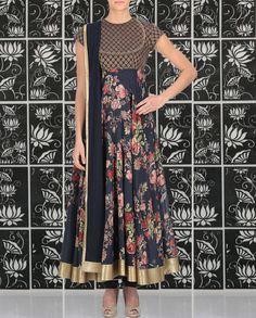 Indigo Floral Print Anarkali Suit