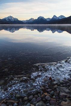 Icy Shoreline Lake McDonald 3.19.16   NPS / Jacob W. Frank   Glacier National Park, Montana   pinned by haw-creek.com