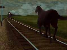 Horse and Train  Alex Colville  1954  Momentum and tension draw the viewer into the scene of a galloping horse on a collision course with a locomotive speeding down the tracks. The probable impending doom of the horse is very disconcerting yet the viewer cannot look away. Canadian artist Alex Colville was a master of creating scenes that at times intrigue and at other times discomfort the viewer. There is always a sense of depth beneath the surface of his paintings noumena behind the…