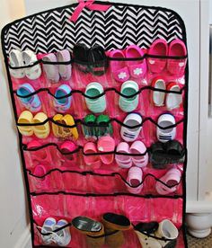 Use a Jewelery Organizer to Store Baby Shoes & Socks : the regular over-the-door shoe organizers are too big for baby shoes so this is a perfect solution!