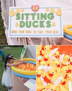 Strange Case | Laura and Andy's Funfair Wedding. Sitting ducks, hook your duck to find your seat! Hook a Duck table plan designed by We Are Strange Case - High Wycombe Wedding - Liverpool Design