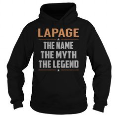 Awesome Tee LAPAGE The Myth, Legend - Last Name, Surname T-Shirt Shirts & Tees
