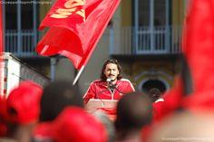 Napoli, Italia - 21 Novembre 2014 - Manifestazione nazionale per lo sciopero generale degli operai metalmeccanici indetto dalla FIOM. Ph Giuseppe Filippini