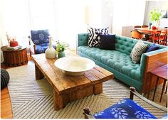 In LOVE with the teal sofa and the coffee table