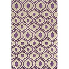 """Crafted Purple Geometric Pattern Area Rug (5' x 7'6"""") Gorgeous Trellis Abstract Texture Design Persian Luxurious Comfort White Plum Colored Floor"""
