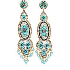 MIGUEL ASES Statement Bead Earrings (8 275 UAH) ❤ liked on Polyvore featuring jewelry, earrings, turq, beaded jewelry, gold filled jewelry, swarovski crystal earrings, beading earrings and beach jewelry