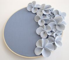 fabric flower embroidery hoop wall art