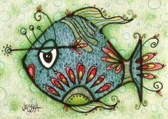 Cute doodle fish