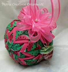 Juicy Sweet Watermelon Handmade Quilted Ornament-I'm getting one of these!