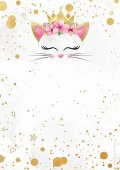 Uau! Veja o que temos para Convite Gatinho Gratis Cat Birthday, Birthday Party Themes, Birthday Invitations, Cat Wallpaper, Wallpaper Backgrounds, Iphone Wallpaper, Theme Mickey, Cat Party, Unicorn Party