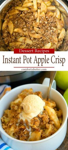 Instant Pot Banana Cream Pie Cheesecake is a stunning dessert! It's a cream pie and a cheesecake in one and will dazzle a crowd. Apple Crisp Easy, Apple Crisp Recipes, Best Instant Pot Recipe, Instant Pot Dinner Recipes, Instant Pot Pressure Cooker, Pressure Cooker Recipes, Pressure Cooking, Cracker Barrel Baked Apples, Gourmet Recipes