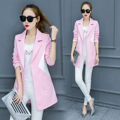 2017 Women Casual Small Blazer Suits Notched Long Sleeve Work Wear Woman Office Suit Ladies Sexy Blazer Jacket Feminino Pink #Affiliate