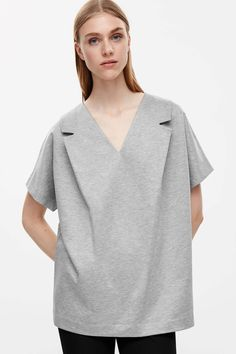 COS image 2 of Lapel detail v-neck top in Grey