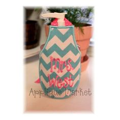 Machine Embroidery Design Applique In the Hoop Soap or Water Bottle Apron INSTANT DOWNLOAD