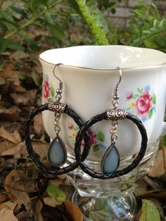 Black faux leather hoop earrings with glass by UNaecornCreations, $15.00