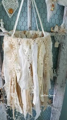 Shabby Chic Home Decor Shabby Chic Crafts, Shabby Chic Homes, Shabby Chic Decor, Boho Decor, Lace Decor, Boho Diy, Bohemian, Fabric Chandelier, Handmade Chandelier