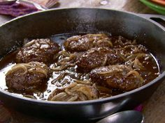 Pioneer Woman Salisbury Steak Recipe by Food Fanatic Salisbury Steak Recipe Pioneer Woman, Salisbury Steak Recipes, Ree Drummond Salisbury Steak Recipe, Beef Dishes, Food Dishes, Main Dishes, Meat Recipes, Cooking Recipes, Sandwich Recipes