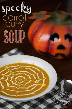 Your family will love this easy to make Spooky Carrot Curry Soup for lunch or dinner because it is filling, packs a spicy punch, and tastes like Fall. Pumpkin Recipes, Fall Recipes, Soup Recipes, Cooking Recipes, Chili Recipes, Delicious Recipes, Holiday Recipes, Holiday Ideas, Halloween Dinner