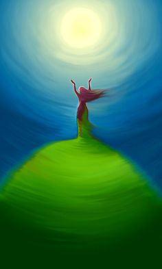 Moon light - Giclee print of original digital painting by on Etsy Sacred Feminine, Moon Goddess, Earth Goddess, Goddess Art, Green Goddess, Art And Illustration, Moon Art, Gods And Goddesses, Stars And Moon