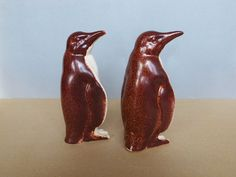 Adorable Vintage 2 Penguin Figurines Chocolate Brown by PineBook