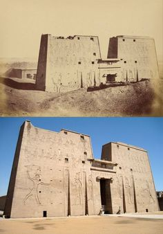 THE TEMPLE OF EDFU....IN 1831 AND TODAY......PARTAGE OF ANCIENT CODE......ON FACEBOOK...........