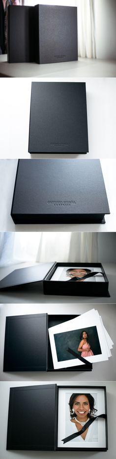 Folio Box box for photos, matted photos, finao folio box, black portfolio box Printed Portfolio, Portfolio Book, Portfolio Design, Brand Packaging, Packaging Design, Branding Design, Business Card Maker, Unique Business Cards, Photography Packaging