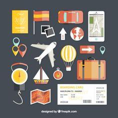 Iconos de viaje en diseño plano