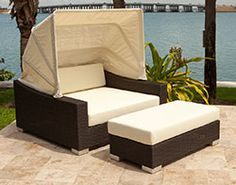 The King Daybed features a classic, yet modern design that's rich in style. This beautiful daybed offers an Espresso finished wicker with a warm textured weave, giving your outdoor space a welcoming feel. Its retractable canopy lets you be shaded from the Outdoor Daybed, Outdoor Decor, Folding Beds, Retractable Canopy, Guest Bed, Built In Storage, Outdoor Furniture Sets, Modern Design, Sweet Home