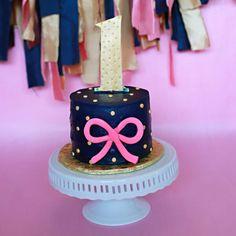 Taylor's 1st birthday smash cake/ pink, navy, gold