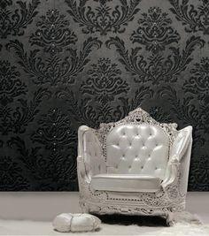 papier peint baroque en relief à motifs typiques incrustés de cristaux
