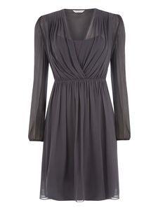 Silk Shoulder Tuck Dress