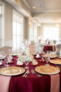 Burgundy and Blush Winter Wedding Blush Winter Wedding, Burgendy Wedding, Blush Wedding Reception, Gold And Burgundy Wedding, Gold Wedding Theme, Gold Wedding Decorations, Blush And Gold, Wedding Linens, Nautical Wedding