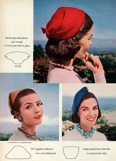 Simple one piece hats you can make, 1955 (image 2 of 3). Wonder if you could figure these out from the pattern pieces?  I like the top one...