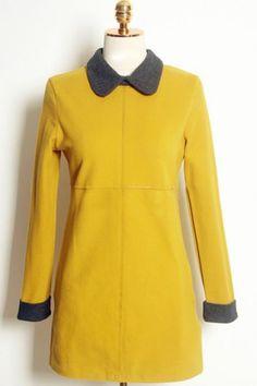 Vintage Color Splicing Wool Dress