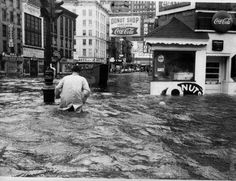 Lower Manhattan during Hurricane Donna, 1960.