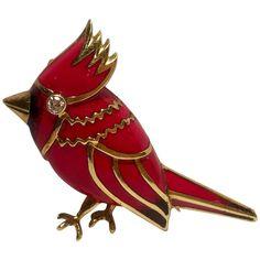 0178962ca 18 Karat Yellow Gold Red Enamel Diamond Cardinal Bird Brooch with a bezel  set Diamond eye