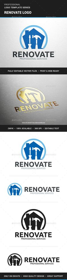 Buy Renovate Logo Template by LiveAtTheBBQ on GraphicRiver. The Renovate Logo Template A modern logo for renovation, construction, real estate, carpentry and other related busin. Vector Logo Design, Logo Design Template, Logo Templates, Logo Desing, Logos, Logo Branding, Cool Business Cards, Business Logo, Invoice Template