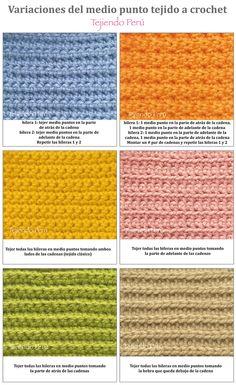 Crochet: variaciones al tejer con medio puntos! :)