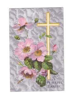 Vintage Postcard Easter Cross Dogwood Flowers (Image1)